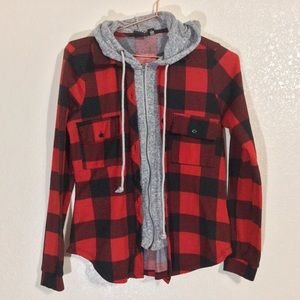 Eye Candy | EUC Red & Black Flannel Zip Up Jacket